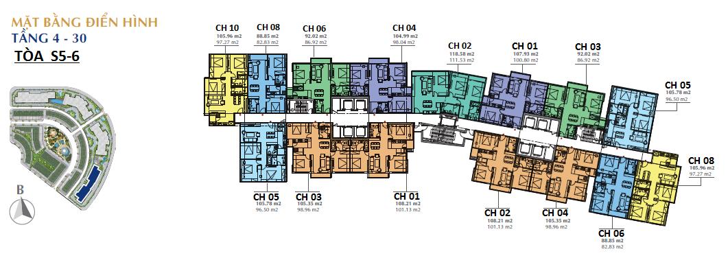 Mặt bằng thiết kế các căn hộ tầng điển hình tòa S5 và S6