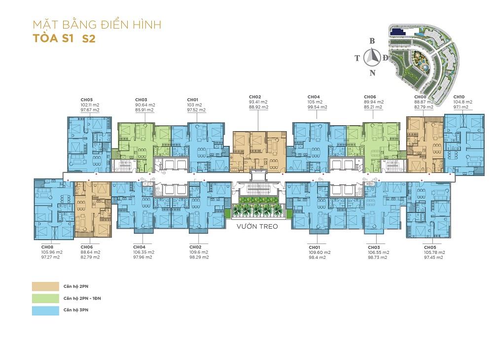 Mặt bằng thiết kế các căn hộ tầng điển hình tòa S1 và S2