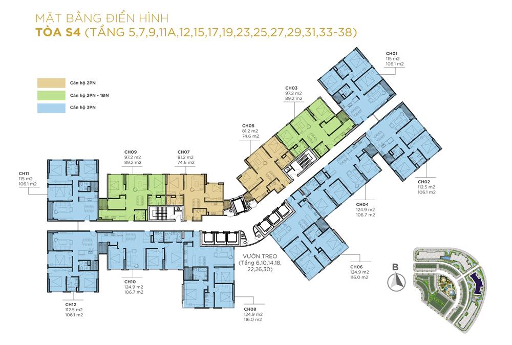 Mặt bằng thiết kế các căn hộ tầng điển hình tòa S4
