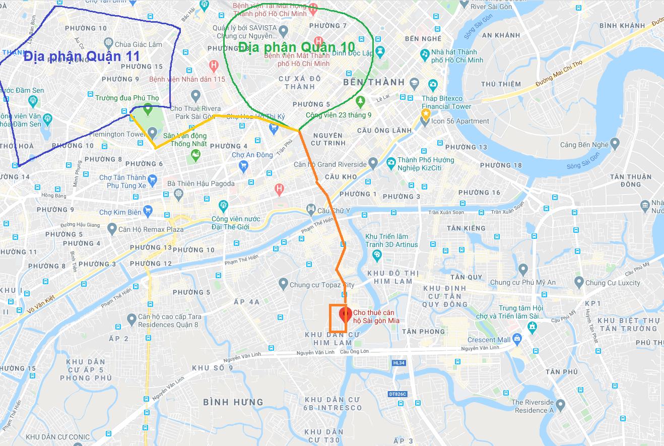 Cho thuê căn hộ Sài Gòn Mia đi quận 10 và quận 11