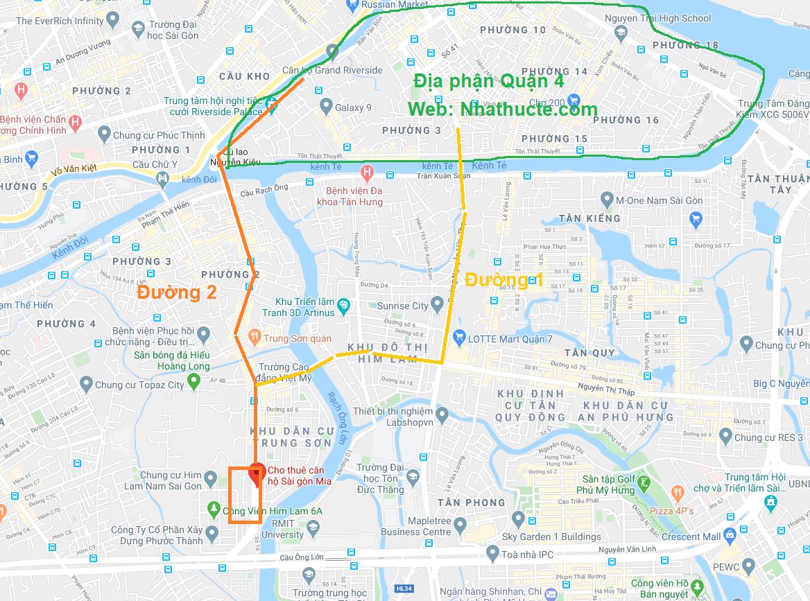 Cho thuê căn hộ Sài Gòn Mia đi Quận 4