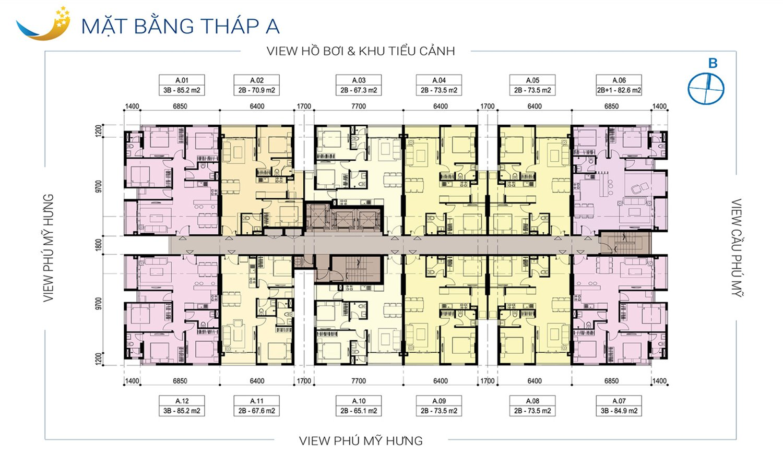 Sơ đồ mặt bằng căn hộ Luxcity Quận 7 tháp A