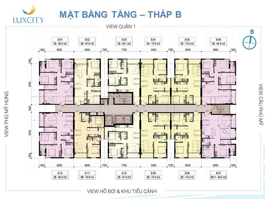 Sơ đồ mặt bằng căn hộ Luxcity Quận 7 tháp B